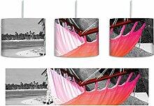 raumhafte Hängematte am Strand schwarz/weiß inkl. Lampenfassung E27, Lampe mit Motivdruck, tolle Deckenlampe, Hängelampe, Pendelleuchte - Durchmesser 30cm - Dekoration mit Licht ideal für Wohnzimmer, Kinderzimmer, Schlafzimmer