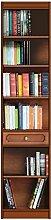 Raumsparendes Bücherregal aus Holz: 4 Einlegeböden/1 Schubfach, Bücherregal Möbel für moderne-klassische Einrichtung Wohnzimmer/Büro/Schlafzimmer, MONTIERT