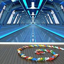 Raumstation Wandbild Blauer Tunnel 3D Foto-Tapete Kinder Schlafzimmer Haus Dekor Erhältlich in 8 Größen Mittel Digital