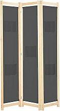 Raumteiler 3-teiliger Raumteiler Grau 120 x 170 x