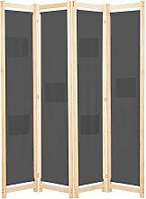 Raumteiler 4-teiliger Raumteiler Grau 160 x 170 x