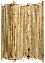 Raumteiler aus gelben Bambus, 150 x 180cm 3teilig