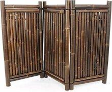 Raumteiler aus schwarzen Bambus 3teilig mit 120 x