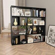 Raumteiler/Bücherregal Schwarz 110×24×110 cm