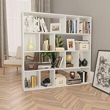 Raumteiler/Bücherregal Weiß 110×24×110 cm