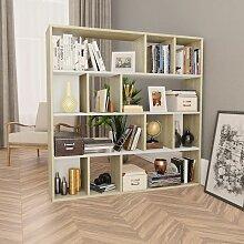 Raumteiler/Bücherregal Weiß und Eiche