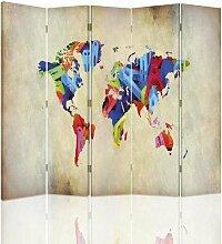 Raumteiler Colorful World Map mit 5 Paneelen