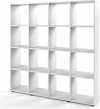 Raumteiler KARREE 16 Fächer Weiß - Bücherregal