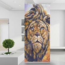 Raumteiler Löwenkopf Afrika Tier Wild Wand Stoff Mauer Bild Zimmer Dekoration Modern XXL Bahn einteilig No.RID17-2