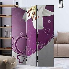 Raumteiler Paravent in Violett und Weiß Herz Motiv