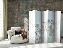 Raumteiler Paravent mit Blumen Motiv Weiß