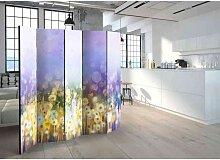 Raumteiler Paravent mit Blumenwiesen Motiv