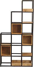Raumteiler-Regal aus Mangoholz und schwarz