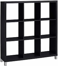 Raumteiler Regal in Schwarz neun Fächern