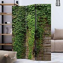 Raumteiler Trennwand in Grün und Beige Mauer Motiv
