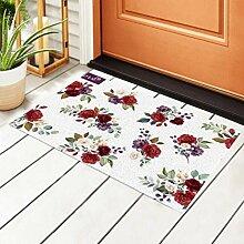 RAUP Innen Fußmatten Set Blumen Zweig Blume Rot