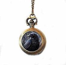 Raven Taschenuhr Anhänger Rabe Uhr Halskette