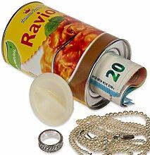 Ravioli Spardose inkl. Geheimfach, Sparbüchse als Konservendose mit Schraubverschluss