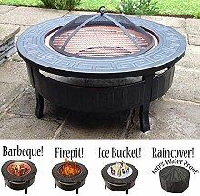 RayGar 3in 1Feuerstelle, Grill, rund, aus Metall, Outdoor Garten Feuerstelle und Schutzhülle FP34–Neu