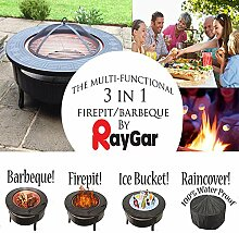 RayGar Multifunktionaler 3-in-1Outdoor-Garten-BBQ-Grill / -Terrassenstrahler / -Feuerschale, Metall-Feuerstelle + Schutzhülle