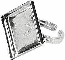 RAYHER 2235622 Ringschiene mit mot Kessel, 20 mm Durchmesser, Quadratisch, SB-Btl, 1 Stück, silber