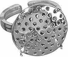 RAYHER 2236922 Ringschiene mit Sieb, 2-teilig, 19 mm Durchmesser, SB-Beutel 1 Stück, silber