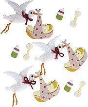 Rayher 58436000 Deko-Sticker: Baby Storch, m.