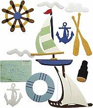 Rayher 58447000 Deko-Sticker: Segelboot, m.