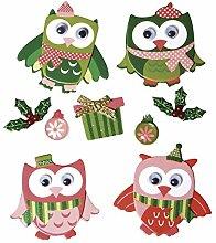 Rayher 58900000 Deko-Sticker: Christmas Owls, m.