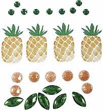 Rayher 60588000 Deko-Sticker: Tropic-Ananas, sort.