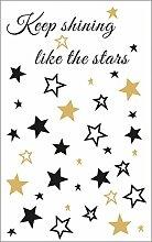 Rayher 60959000 Abziehmotive Stars, schwarz/gold,