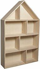 RAYHER 6261100 Holz - Setzkasten Haus, 30 x 50 x 8 cm, 8 Abteilungen, natur, zum Aufhängen