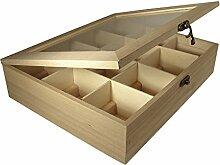 Rayher Tee-Box aus Holz mit 12 Fächer, Aufbewahrungs-Box für Teebeutel, Kaffeepads, Gewürzen, und Kräuter -  Kreativ-Deko-Box DIY