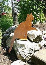 RDI Katze sitzend auf Platte Edelrost, Rostiges
