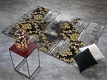 REAL ROSE Vintage Patchwork Velour Teppich in grau-gelb, Größe: 90x160 cm