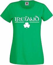 Reality Glitch Damen Irish Clover Fitted T-Shirt (Irisches Grün, Groß)