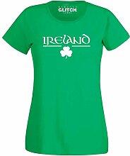 Reality Glitch Damen Irish Clover T Shirt (Irisches Grün, Groß)