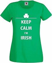 Reality Glitch Damen Keep Calm I'm Irish T-Shirt (Irisches Grün, Groß)