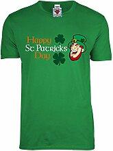 Reality Glitch Herren Happy St Patrick's Day T-Shirt (Irisches Grün, Mittel)