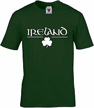 Reality Glitch Herren Ireland T Shirt Irish Clover Design (Irisches Grün, Groß)