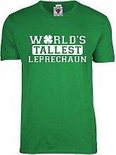 Reality Glitch Herren World's Tallest Leprechaun T-Shirt (Irisches Grün, X-Large)