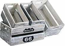 Rebecca Srl 4er-Set Kisten Boxen Aufbewahrung Einheit Holz grau Garten-Küche (Code RE4590)