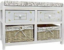 Rebecca Srl (Art.-Nr. RE4074) Sitzbank mit Polsterkissen, zwei Rattankörben/zwei Schubladen, aus Paulownienholz, in weiß, im Landhausstil, für alle Wohnräume