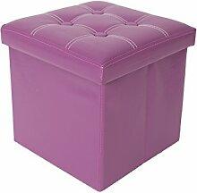Rebecca Srl Hocker Pouf Schemel Aufbewahrungsbox Sitzwürfel Sitzcube violett modern Möbel (Code RE4634)