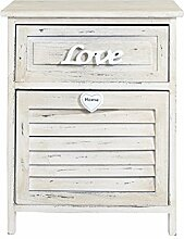Rebecca SRL Schrank Sideboard Möbel 1Schublade natur Holz Farbe Shabby Chic Schlafzimmer Badezimmer (Cod. re4566)