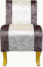 Rebecca Srl Sessel Mini-Polstersessel Stoffsessel Relaxsessel weiß braun Holzbeinen Stoff Wohnzimmer (Code RE4253)