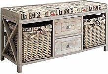 Rebecca Srl Sitzbank Bank 2 Schubladen 2 Weidenkörbe Holz beige Retro Flur Korridor (Code RE4748)