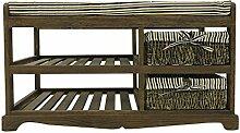 Rebecca Srl Sitzbank Truhenbank Sitzkommode 2 WeidenKörbe 2 Freiflächen bequemen Sitz Holzstruktur braun Farbe Vintage Shabby Landhausstil (Code RE4095)