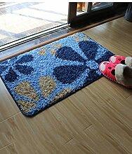 Rechteck Blumenmuster Kreativ Leicht zu reinigen Anti-Rutsch-Wasserabsorption Wohnzimmer Schlafzimmer Eingangsbereich Badezimmer Teppich ( Farbe : C , größe : 50*80cm )