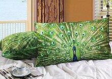 Rechteck MeMoreCool Elegantes verziert weichem Samt Grün Decke Dekoration Kissenbezug Pfauenfedern Design auf beiden Seiten 45cm by 65cm grün